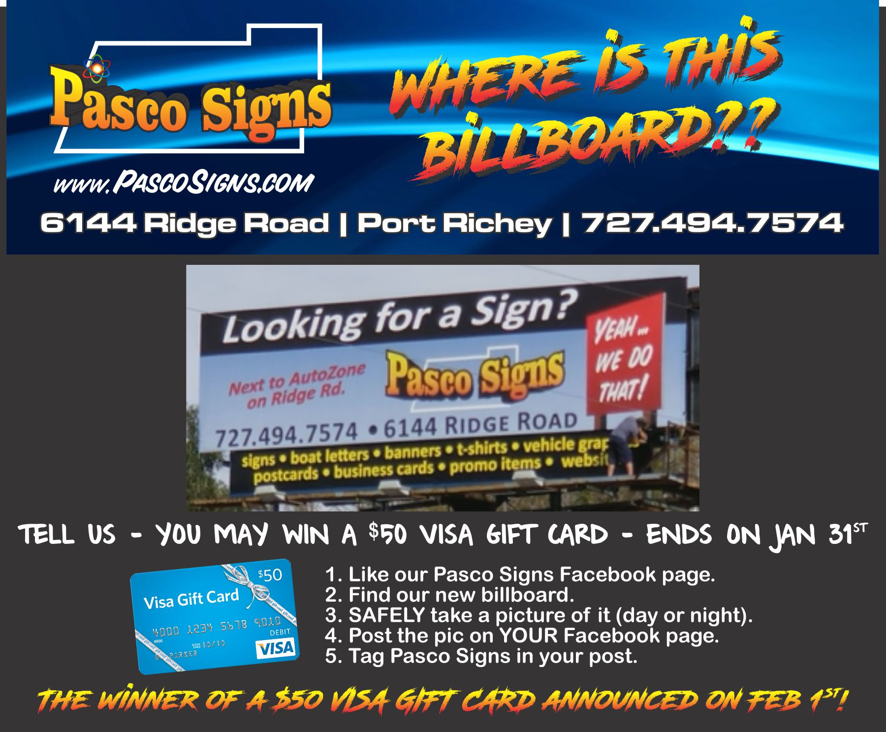 Business card magnets pasco signs save 50 win 50 at pasco signs reheart Choice Image